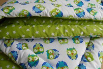Krabbeldecke Grüne Eulen 100x100 kuschelweich