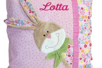 Hasen-Kissen mit Namen bestickt Bungee Bunny
