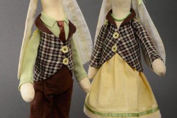 Handmade Kuscheltier Hasen Ehepaar Set